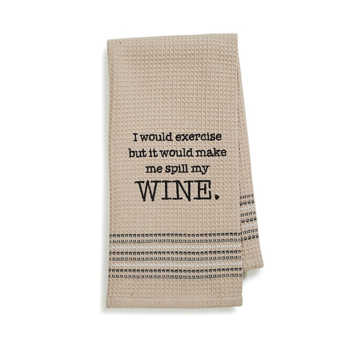 Wine Funny Novelty Cotton Dishtowel Tan