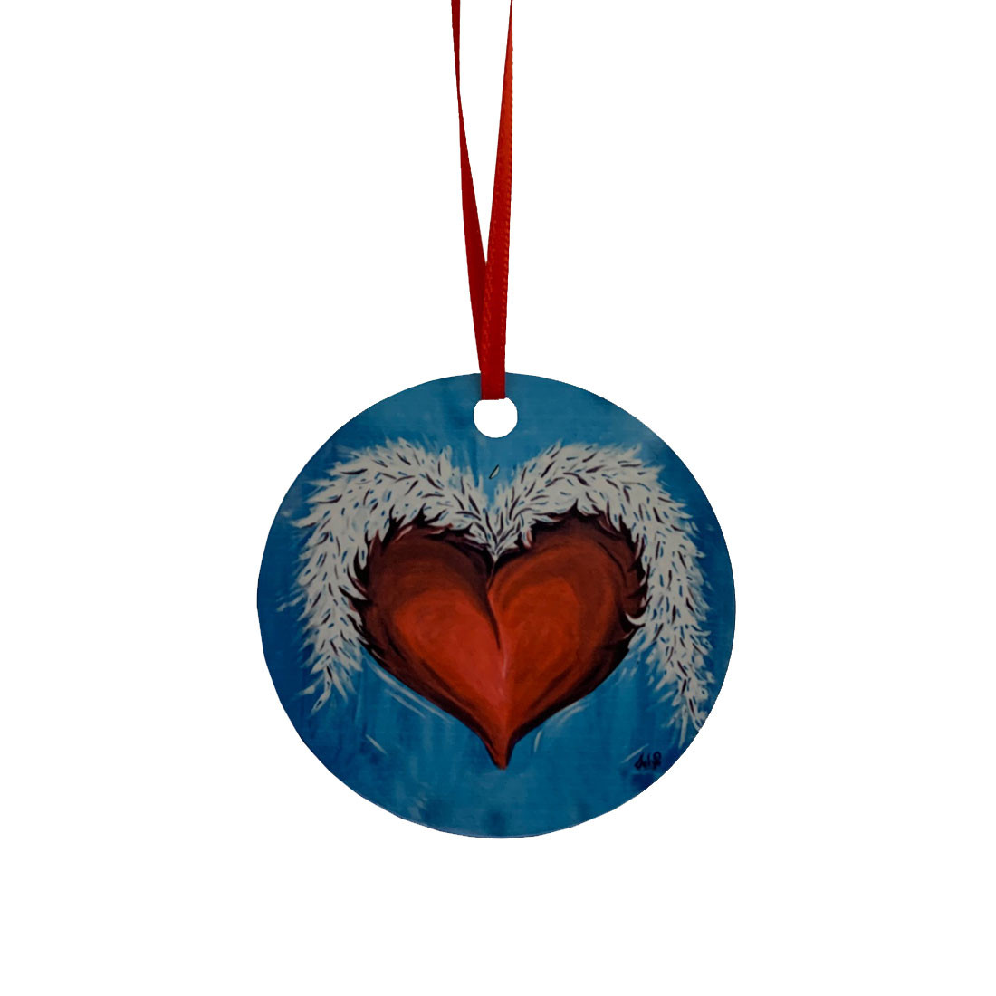 Heart And Wings Metal Hanging Ornament Christmas Tree Decor Purple