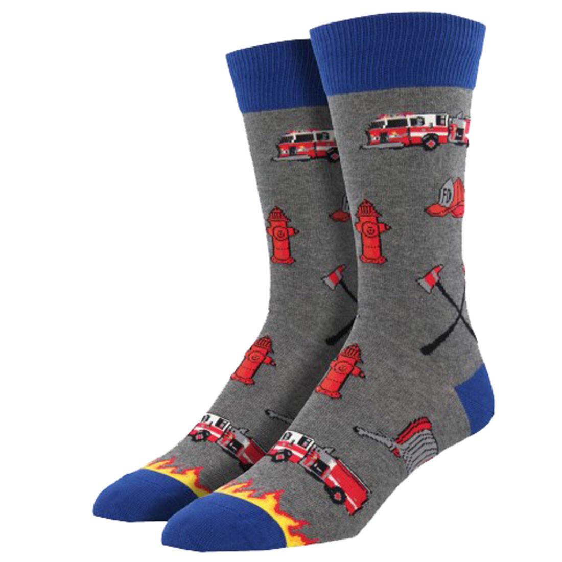 Men's Crew Socks Fire Fighter Navy Gray