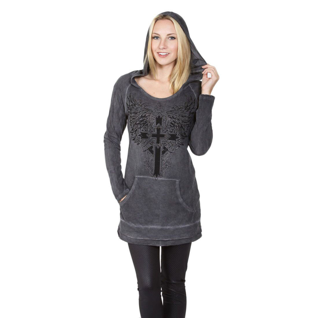 Vocal Apparel Black Mineral Washed Long Sleeve Hoodie Cross and Wings Design