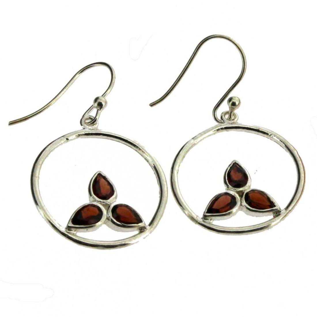 Faceted Red Garnet Earrings Leaf Shape Design Circle Dangle Sterling Silver