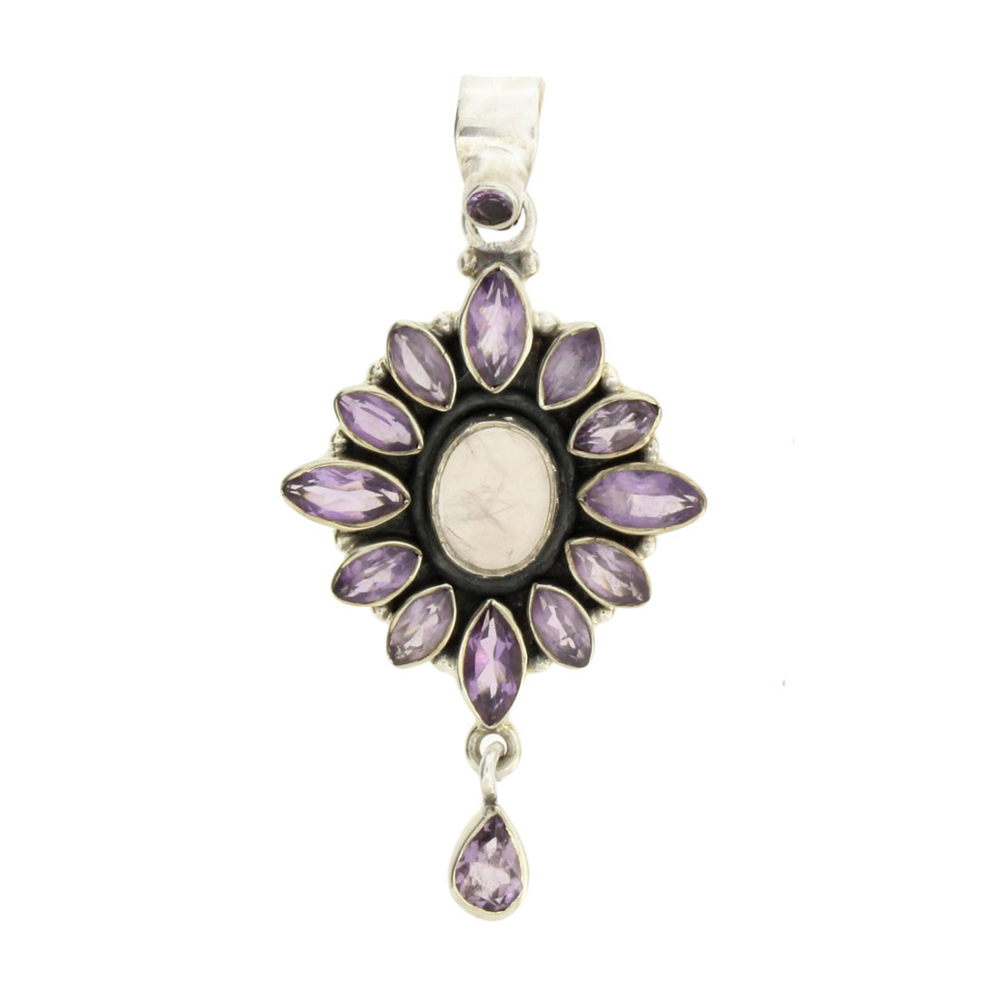 Faceted Amethyst and Rose Quartz Pendant Sterling Silver
