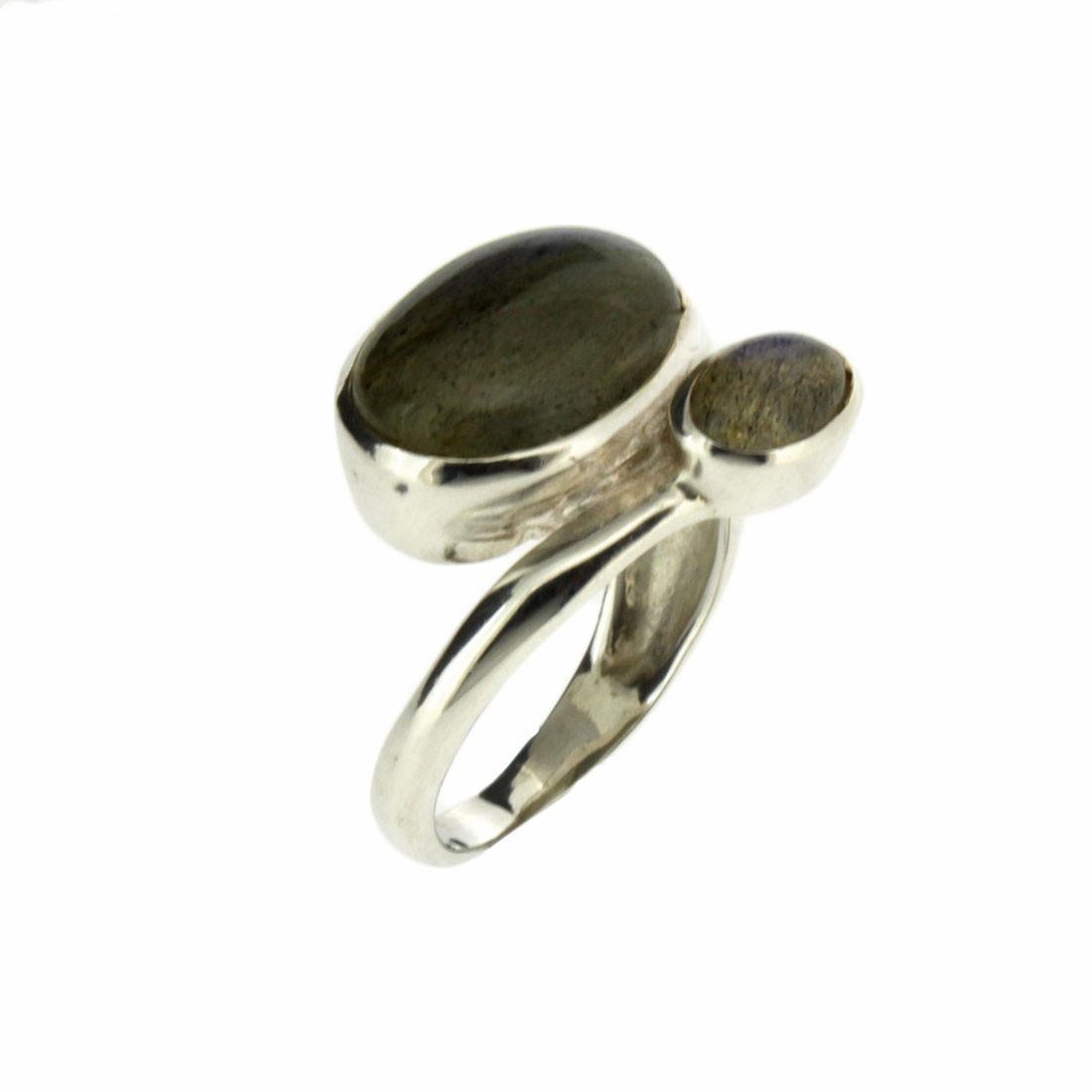 Two Stone Blue Gray Labradorite Sterling Silver Ring