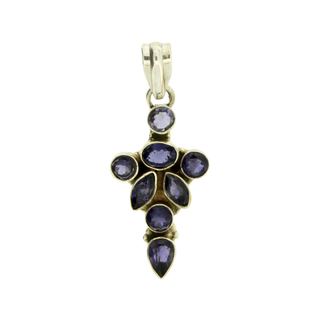Faceted Iolite Sterling Silver Pendant