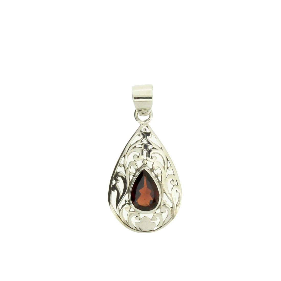 Faceted Red Garnet Teardrop Shape Pendant Sterling Silver Jewelry