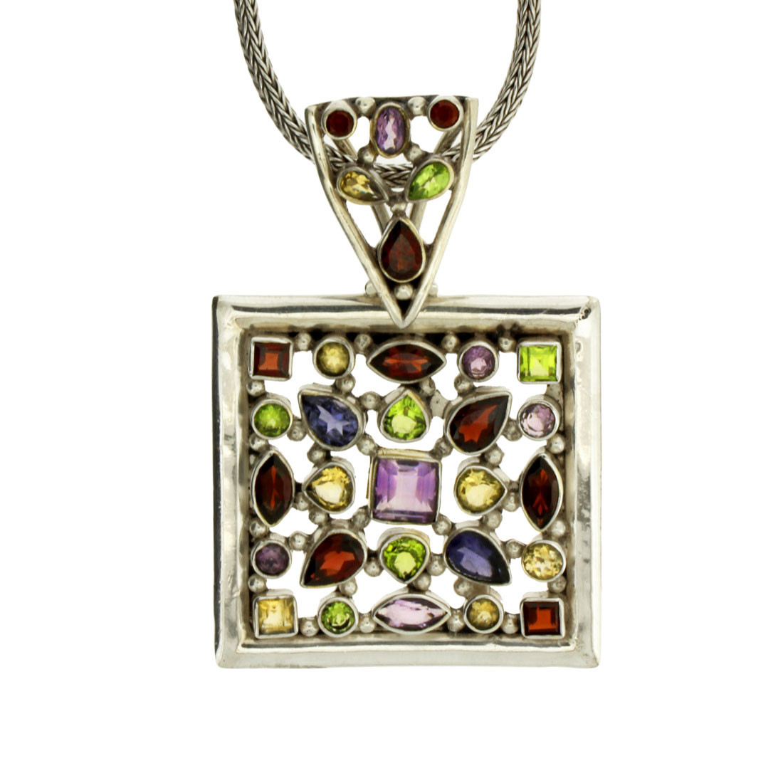 Large Multi Stone Faceted Square Pendant Sterling Silver Jewelry