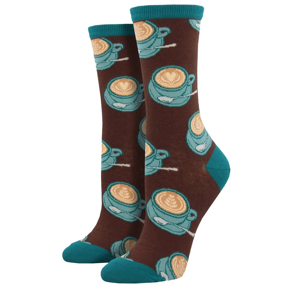 Women's Crew Socks Well Latte Da Coffee Brown