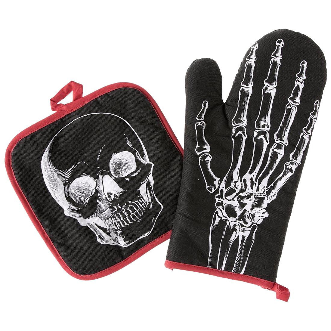 Anatomical Skull and Skeleton Hand Oven Mitt Set Kitchen Pot Holders