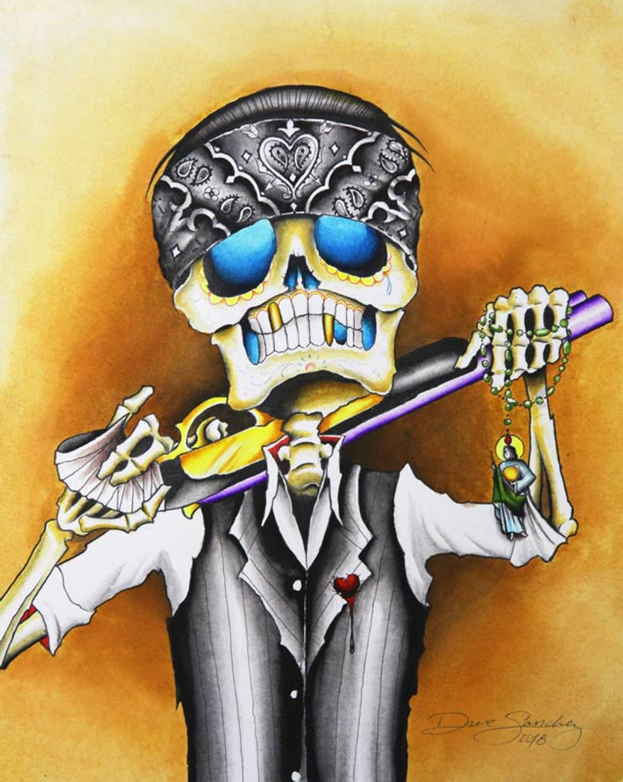 Lost Cause by Dave Sanchez Canvas Giclee Sugar Skull Tattoo Art Print
