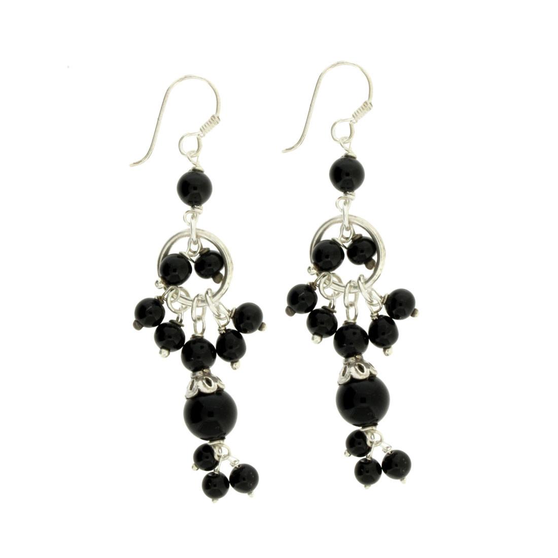 Long Black Onyx Sterling Silver Dangle Earrings