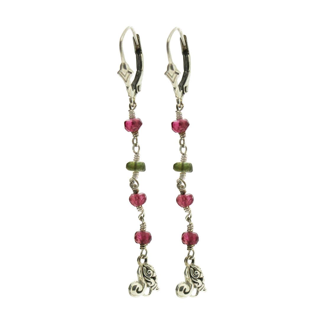 Garnet and Peridot Earrings Dangle Sterling Silver