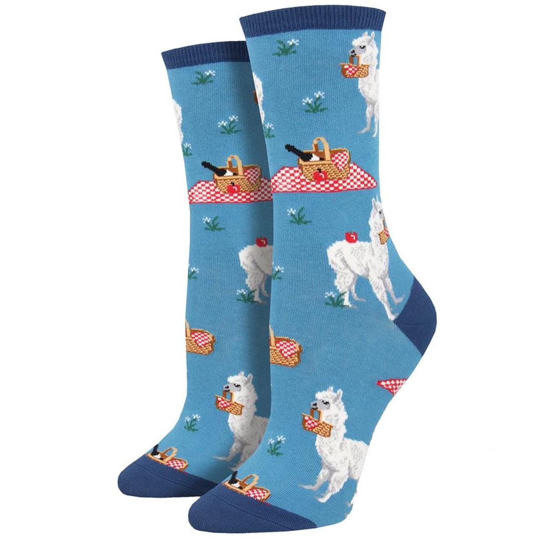Women's Crew Socks Llama Alpaca Picnic Lunch Blue