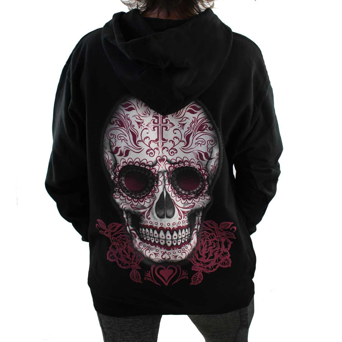 Black Fleece Pullover Hoodie Sweatshirt Day of the Dead Skull and Roses