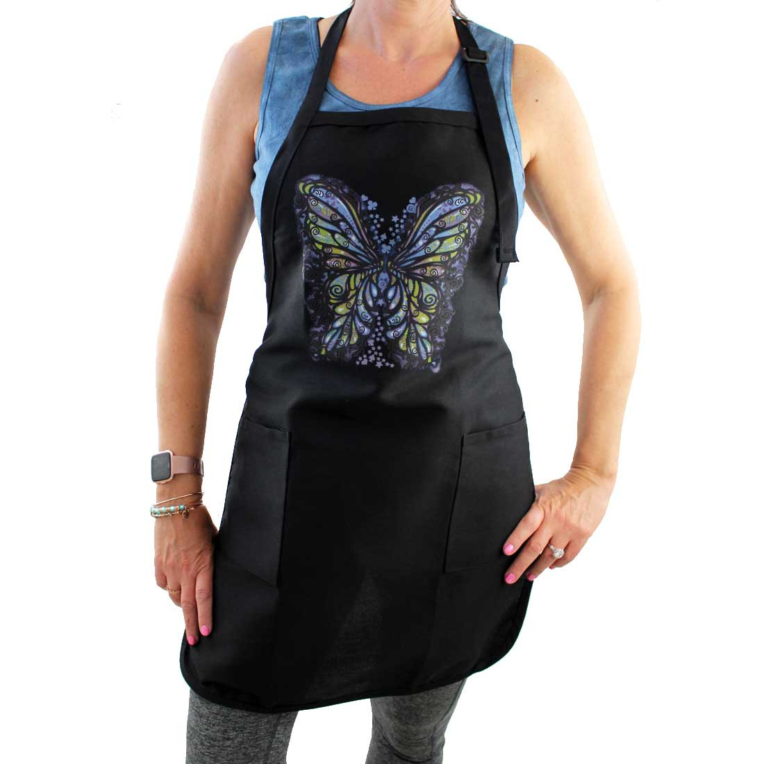 Full Length Black Apron with Colorful Butterfly Design