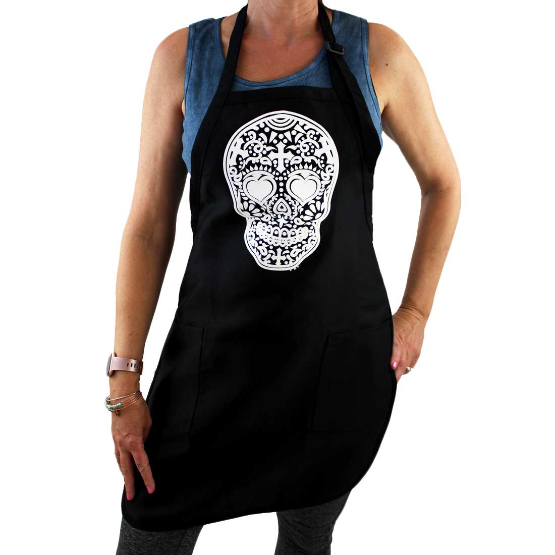 Full Length Black Apron with White Day of the Dead Design