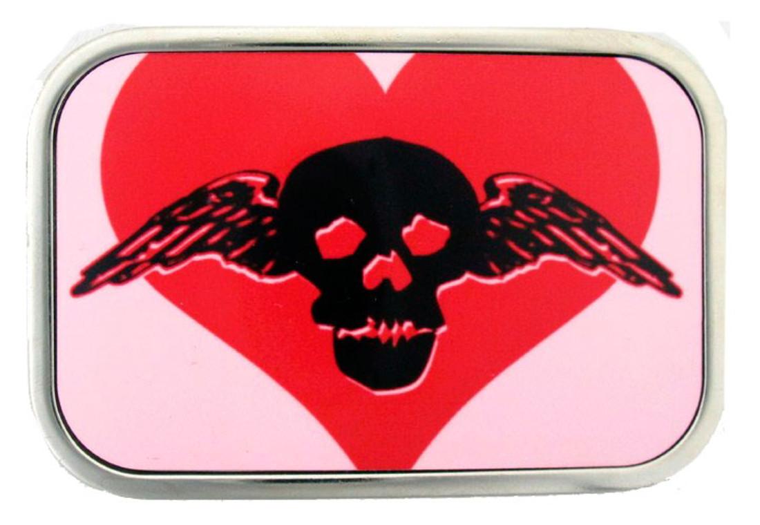 Heart and skull belt buckle.