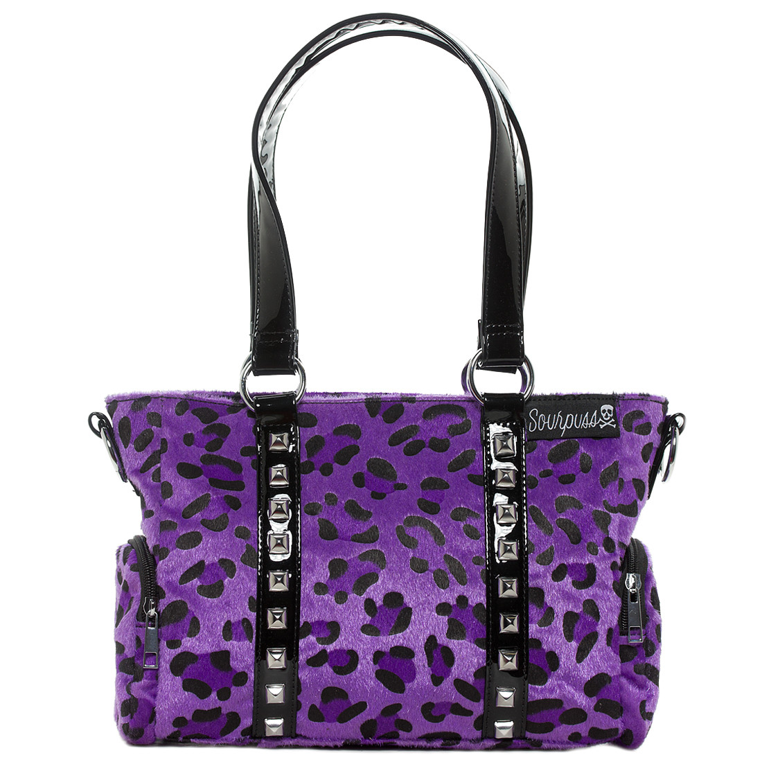 Sourpuss Purse Mini Leda Purple Leopard Stud Crossbody Shoulder Bag