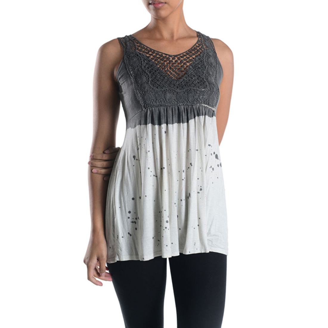 Women's Tank Top Tunic White and Gray with Lace Detail by TParty