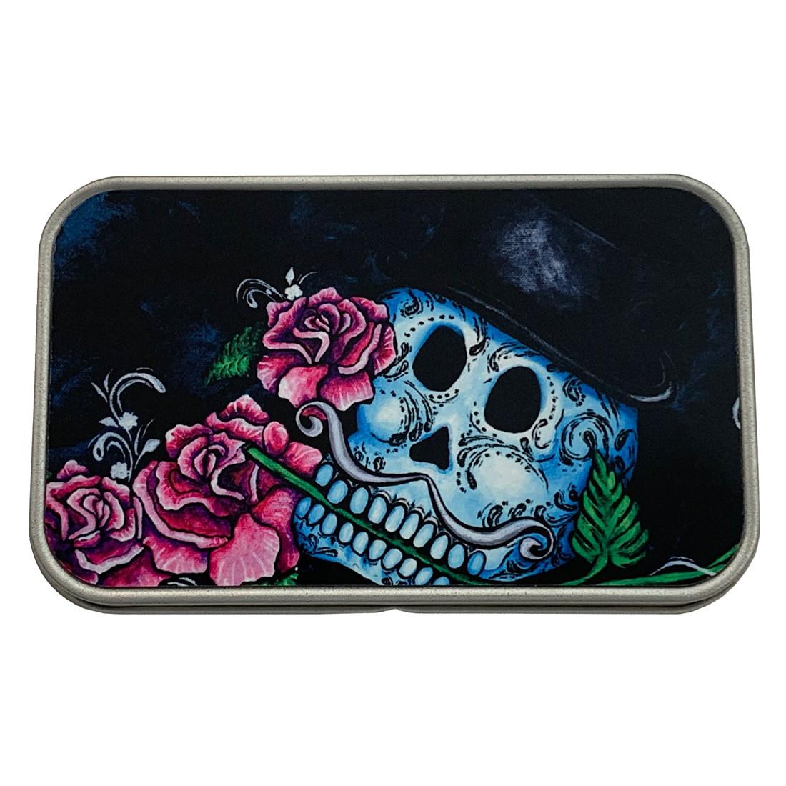 Top Hat Sugar Skull and Roses Rectangle Metal Storage Tin Stash Box
