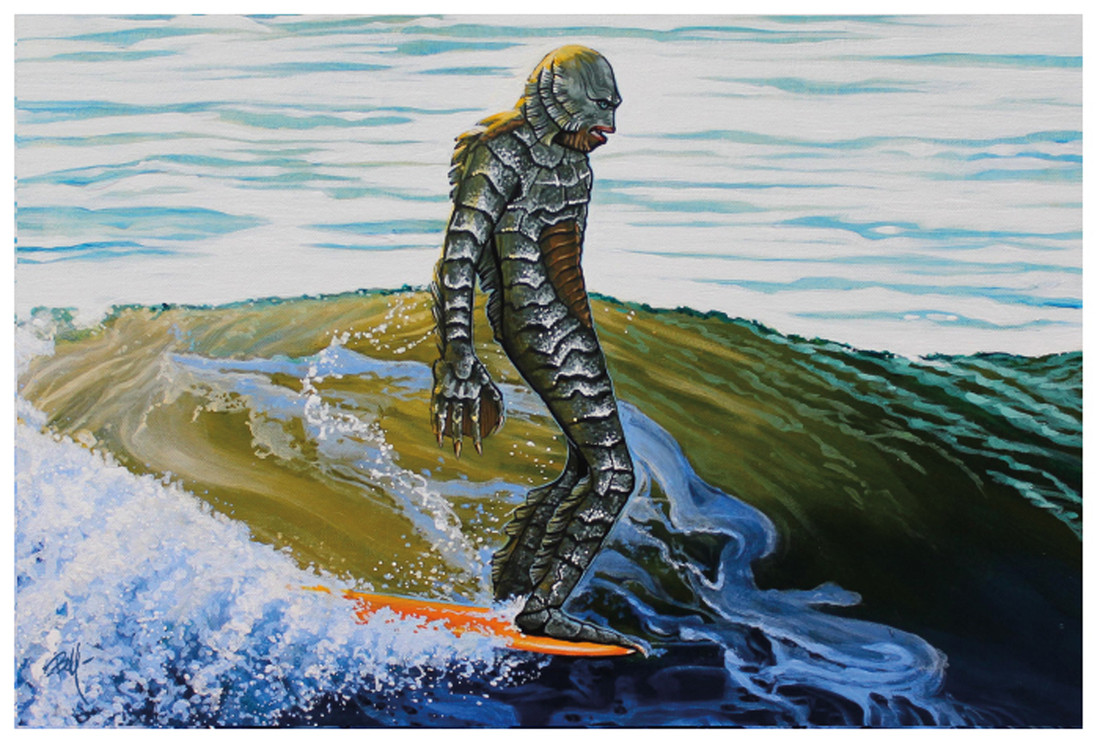 Creeping on the Nose by Mike Bell Fine Art Print Creature from the Black Lagoon Surfing
