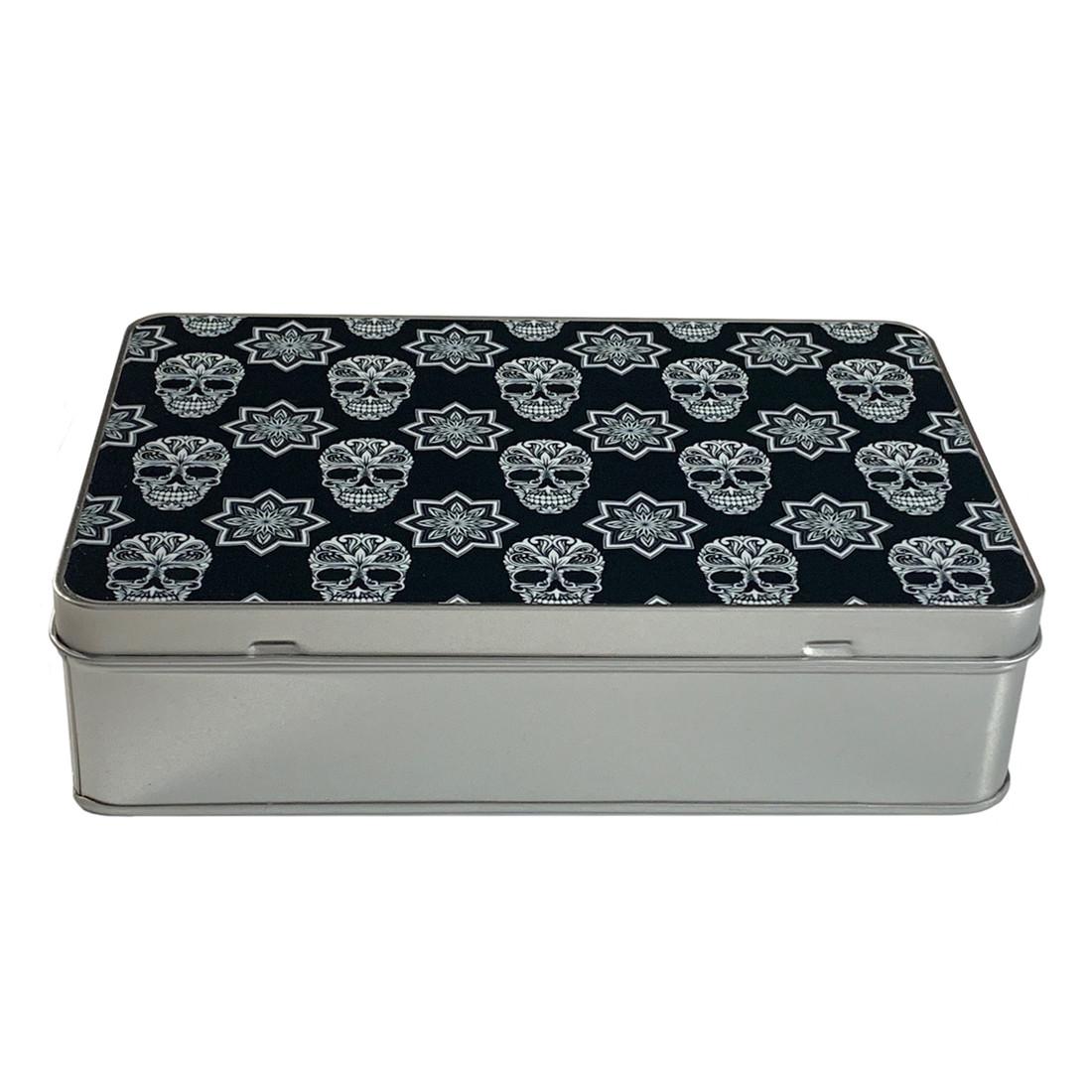 Black and White Sugar Skull Silver Metal Storage Tin
