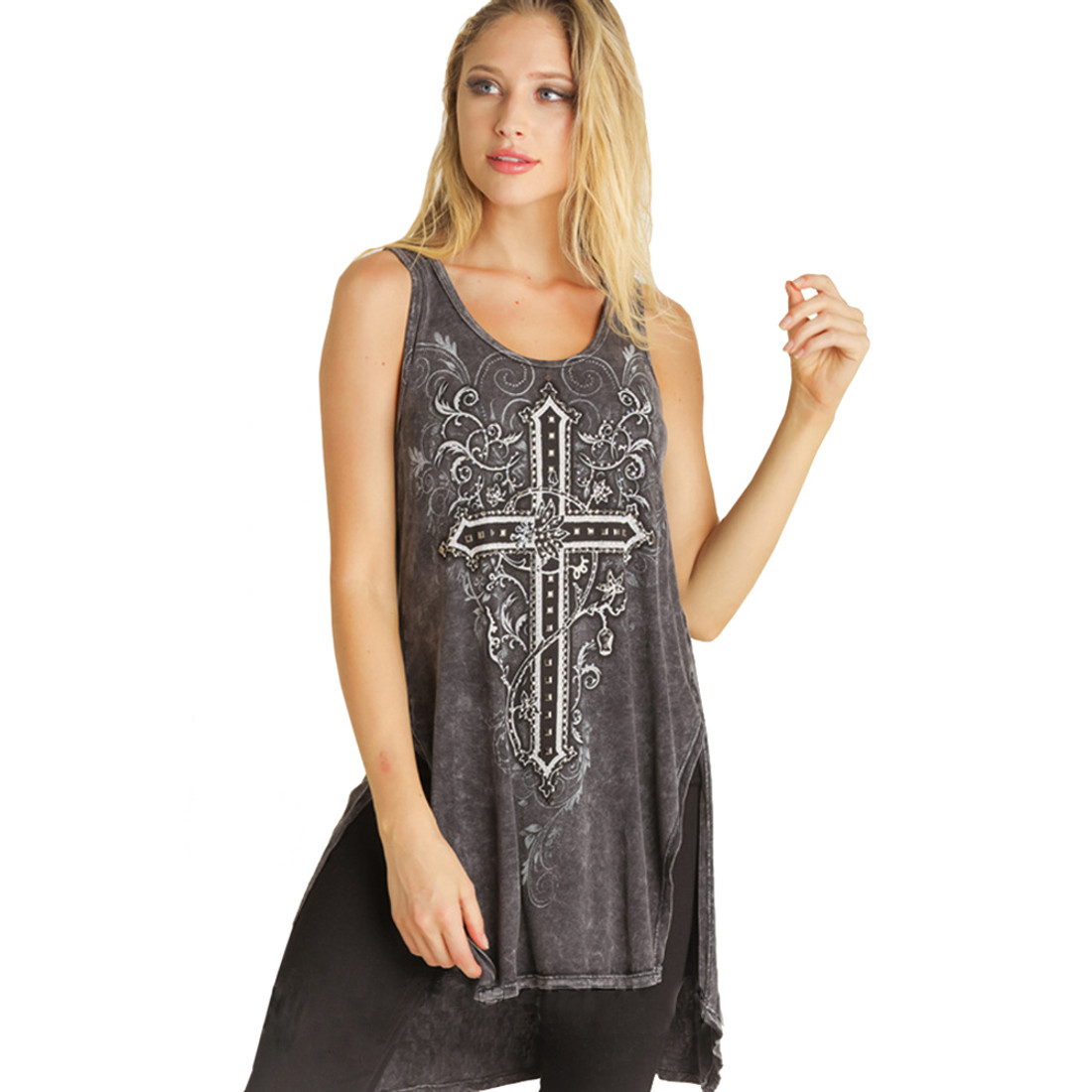 Vocal Apparel Mineral Washed Cross Design Tunic Tank Top