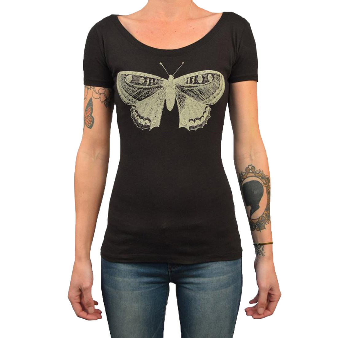 Ladies Butterfly Scoop Neck Tee Shirt