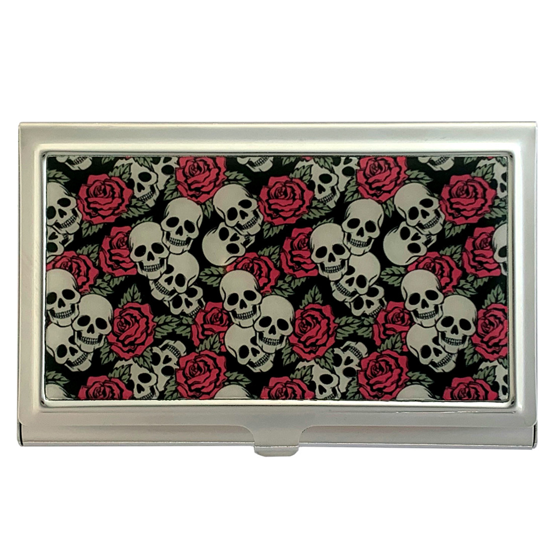 Small Skull and Roses Business Card Case