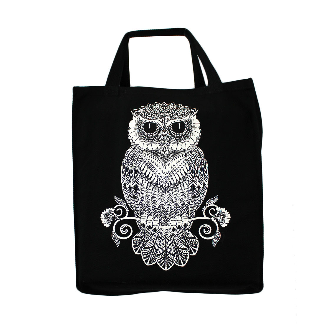 Owl black cotton twill tote bag.
