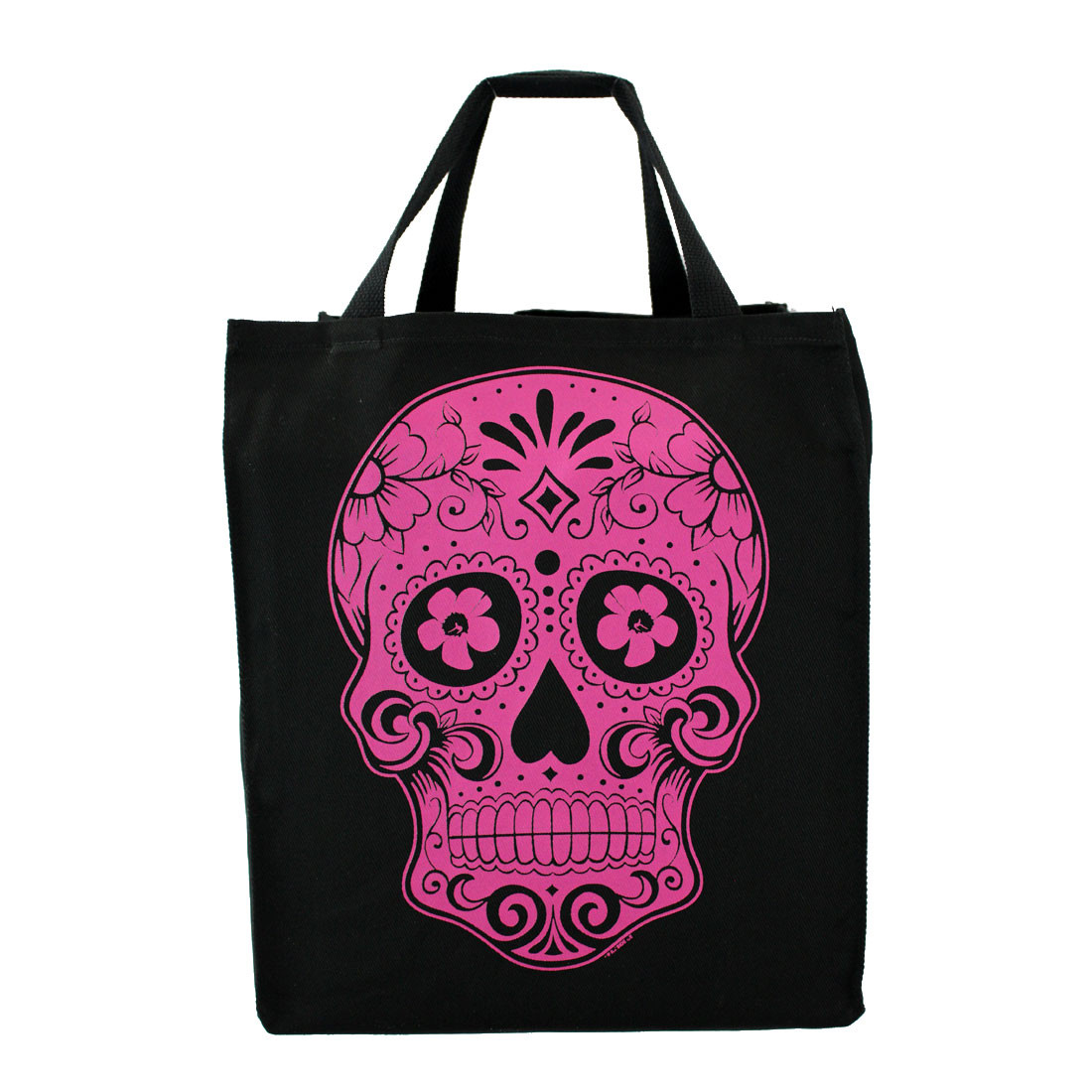 Pink Day of the Dead skull cotton twill grocery tote bag.