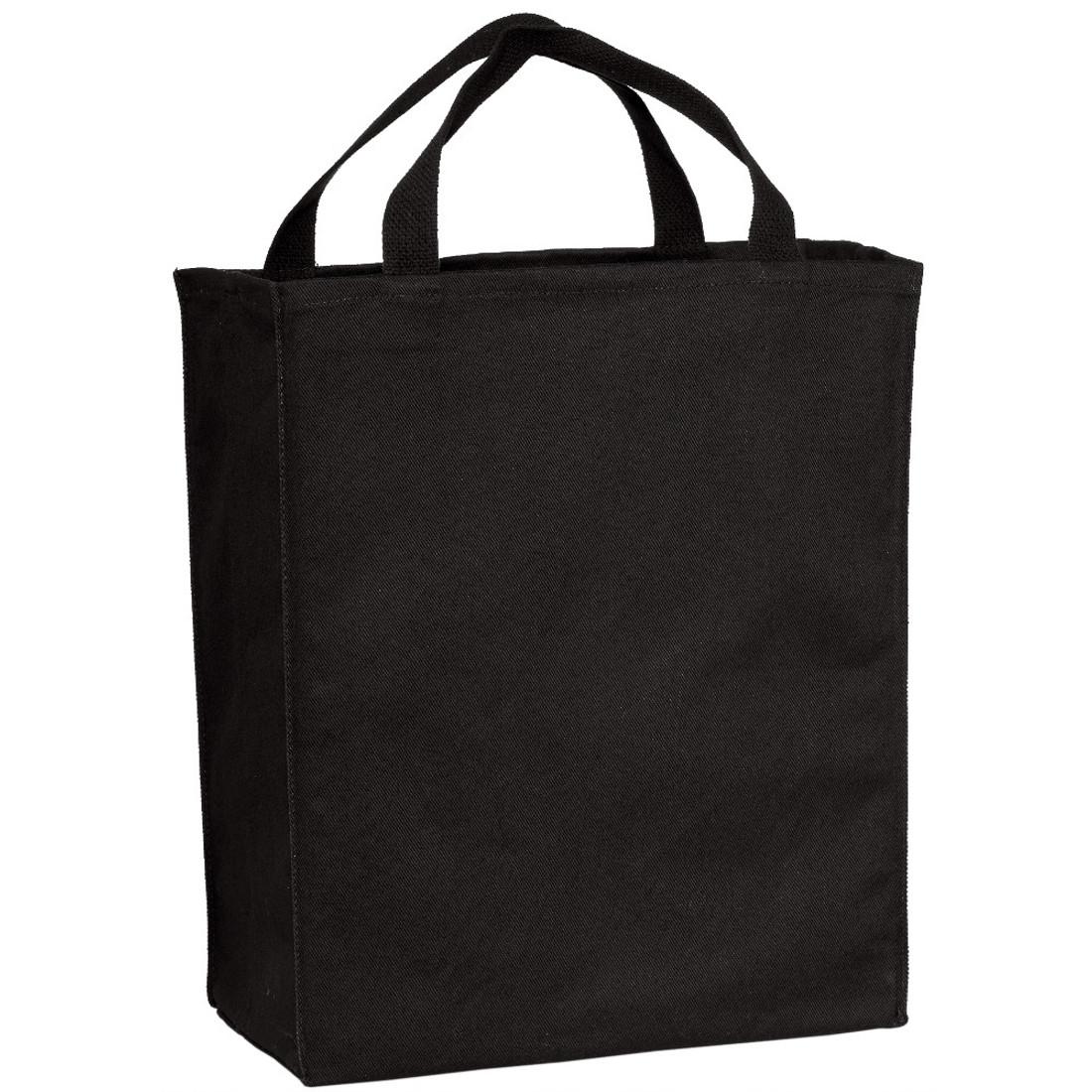 Black cotton twill tote bag.