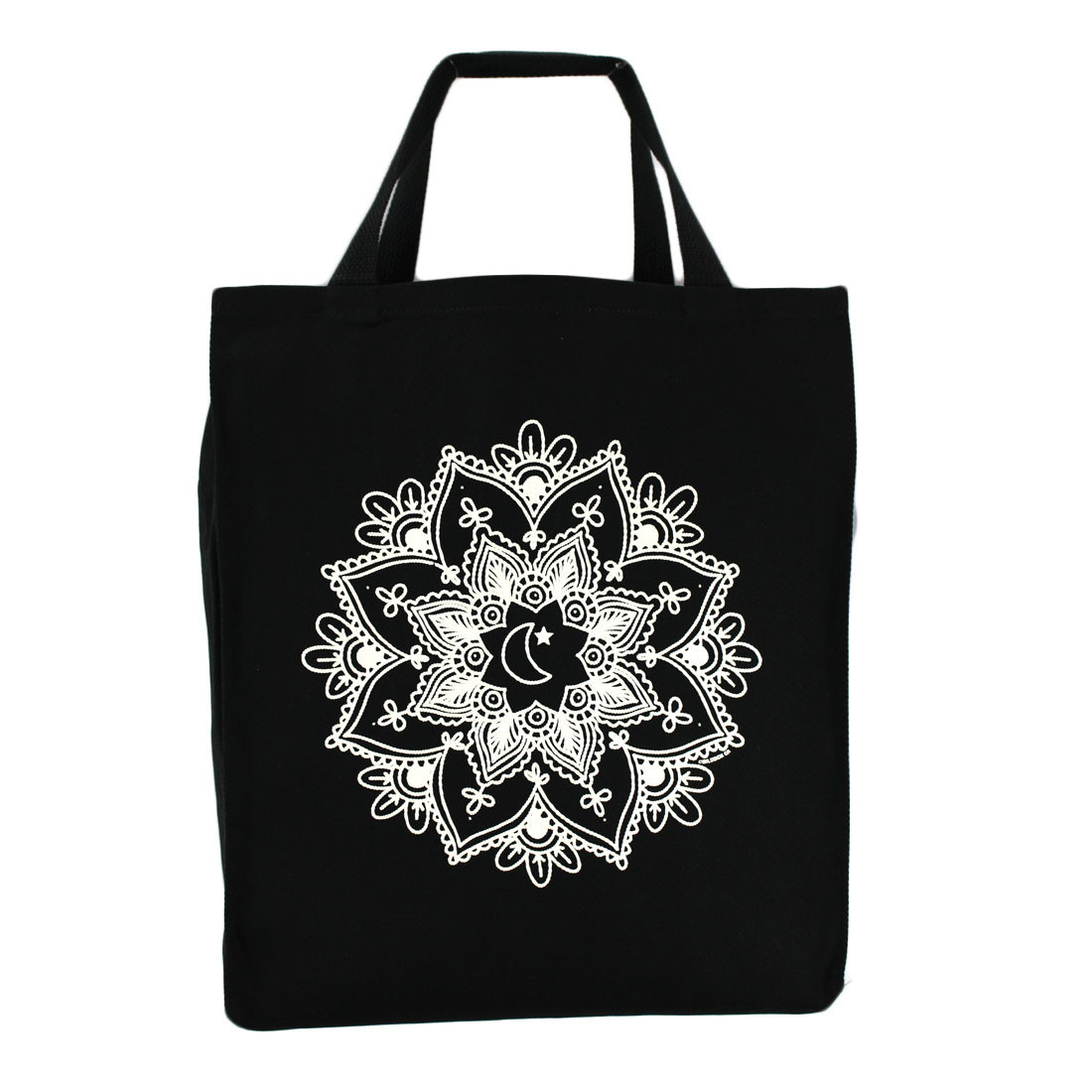 White mandala on cotton twill grocery tote bag.