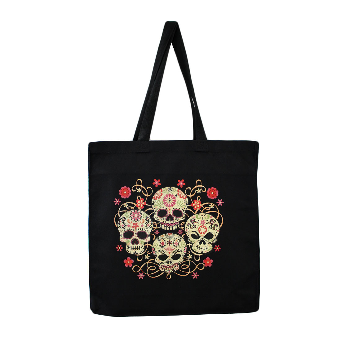 Skulls and Flowers Tote Bag