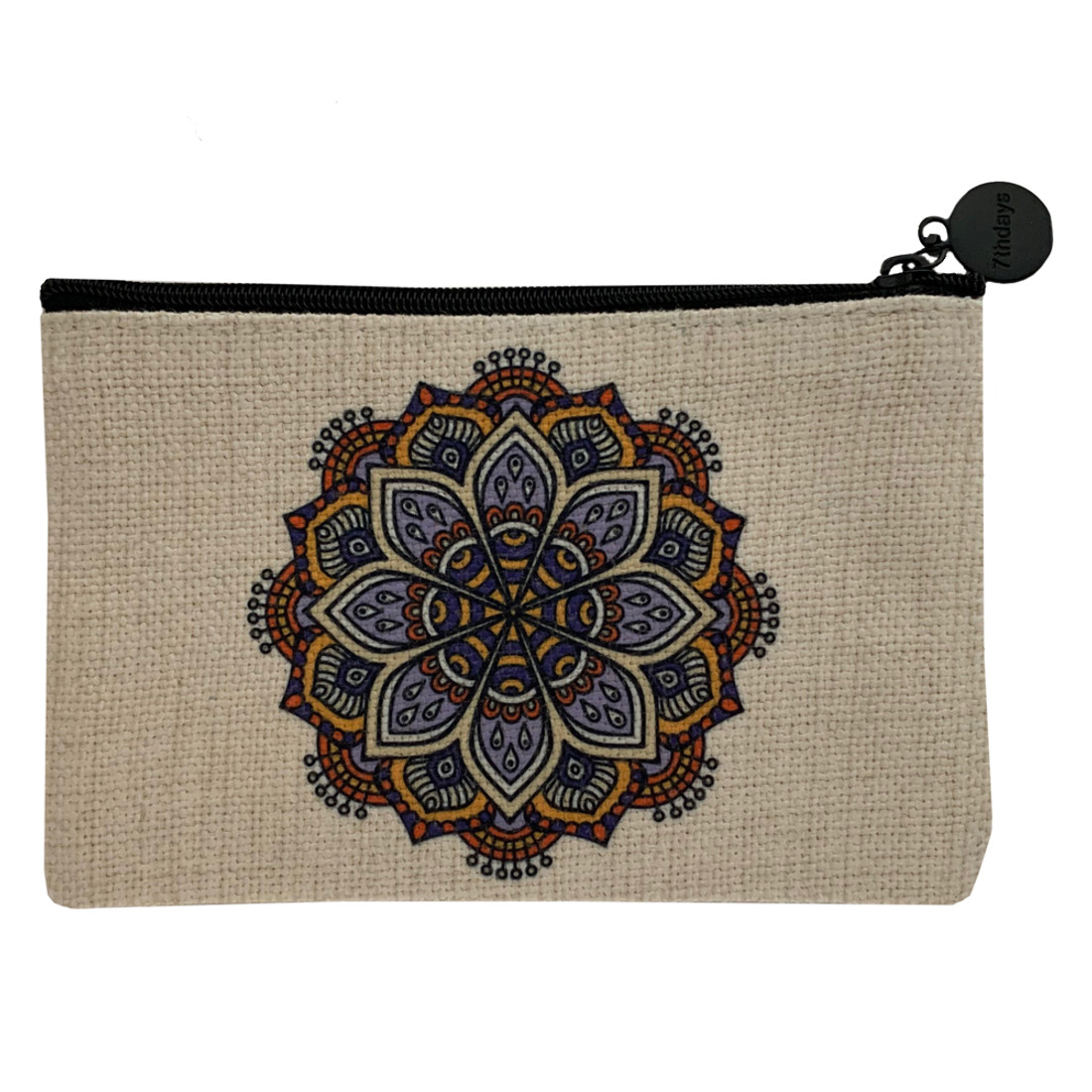 Mandala Small Linen Cosmetic Bag