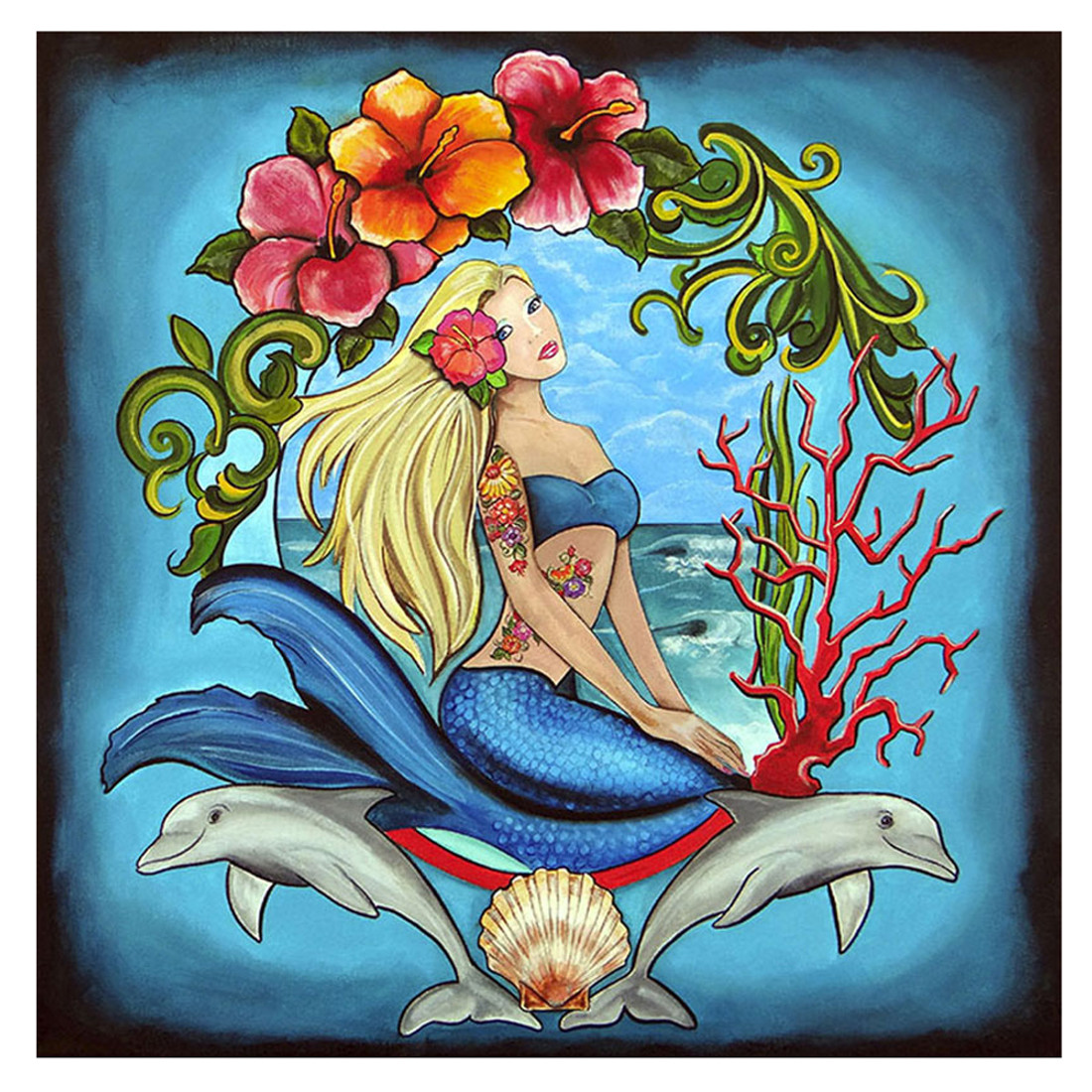 Inked Mermaid by Melody Smith Canvas