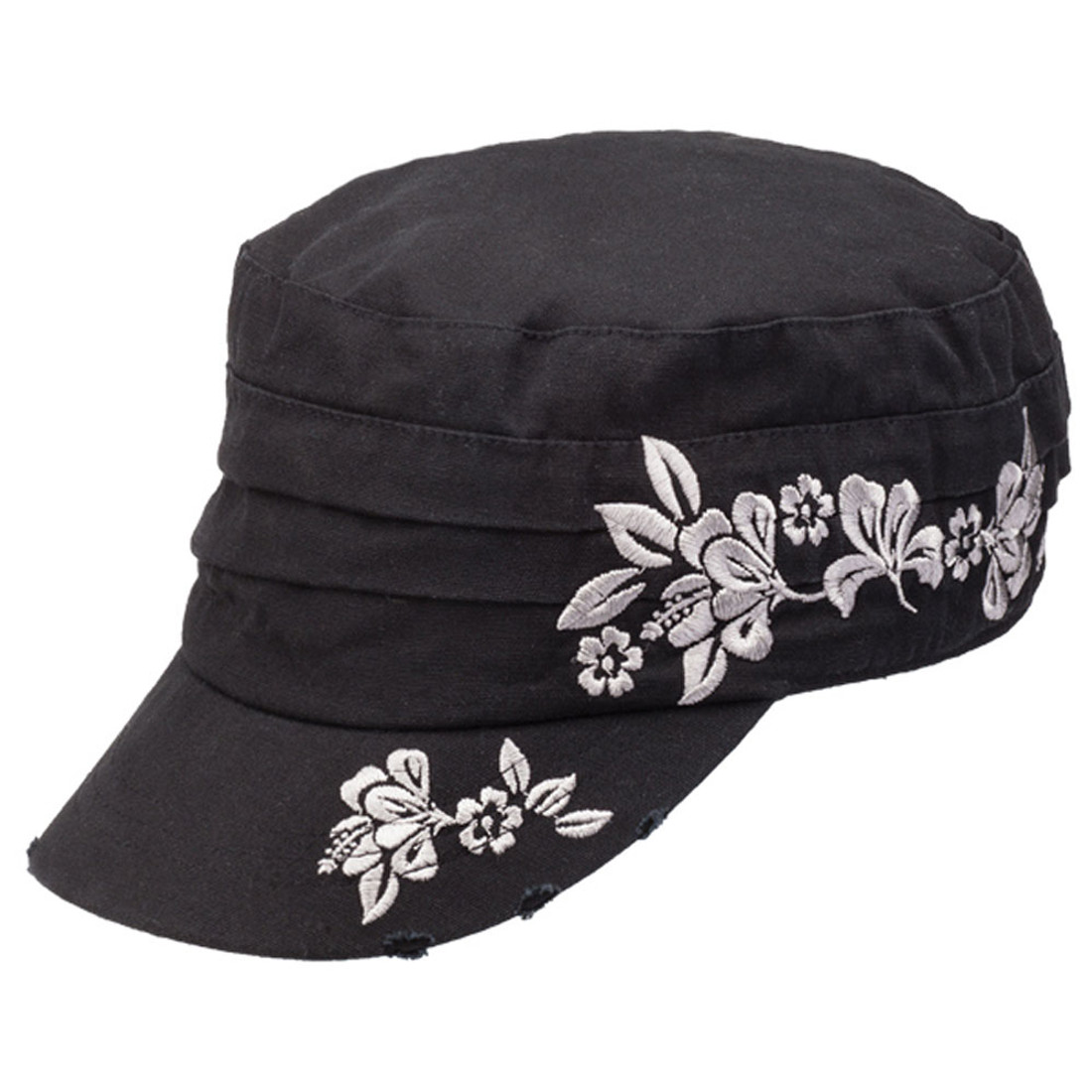 Women's black cap Wahine with floral design.