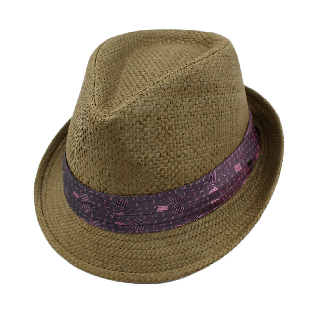 Peter Grimm Stoli Fedora brown hat with purple satin band.