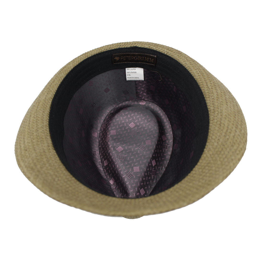 Peter Grimm Stoli Fedora brown hat with purple satin band inside view.