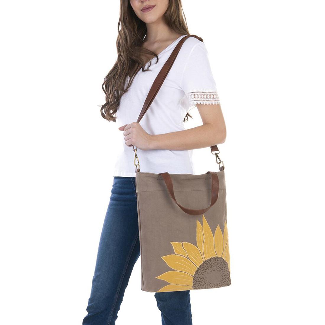 Mona B. Sunflower Canvas Tote Bag model view