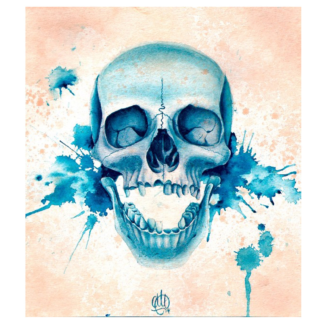 Christina Ramos Blue Skull Canvas Art Print