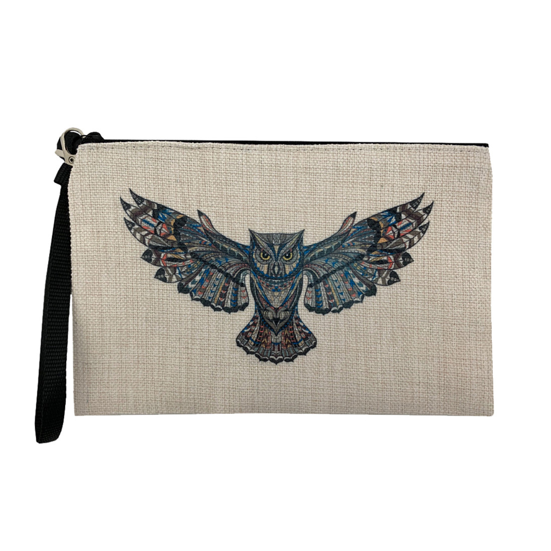 Tribal Owl Linen Zippered Cosmetic Bag