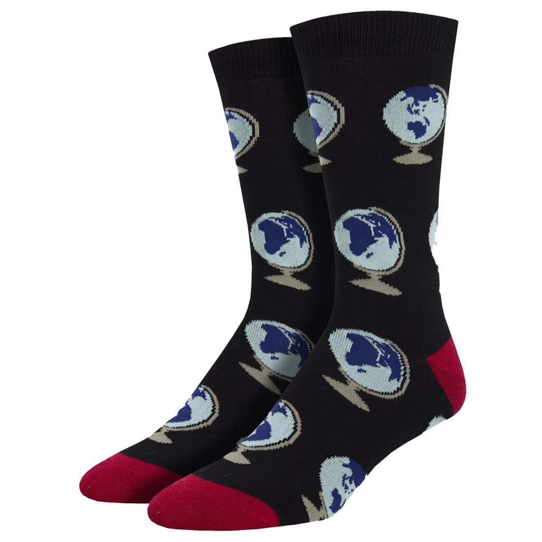 Around The World Globes Men's Crew Socks