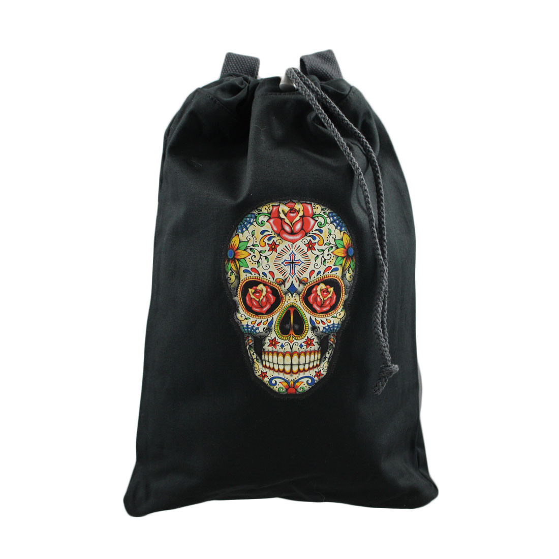 Colorful sugar skull backpack purse front view.