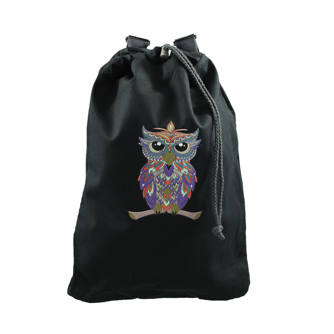 Colorful owl backpack purse front view.