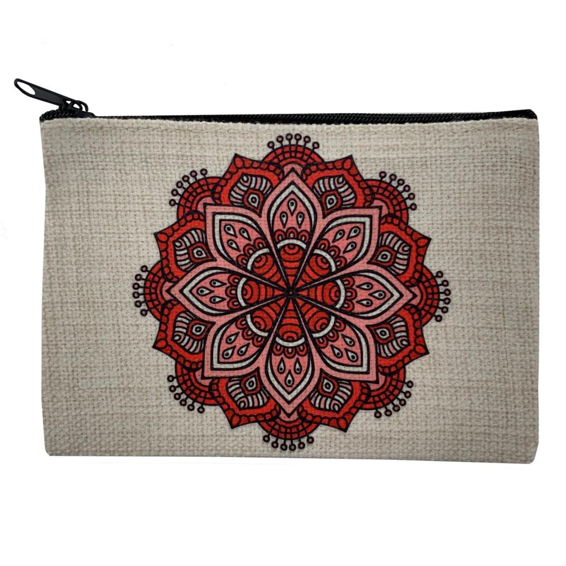 Red Mandala Small Cosmetic Bag