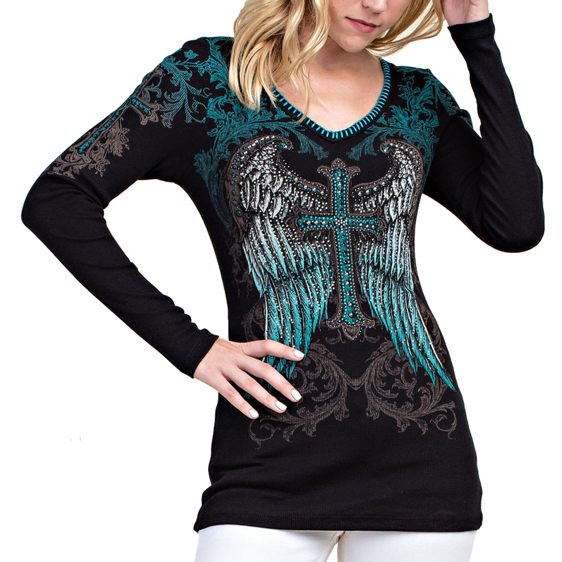 Vocal Apparel Cross Wing Top
