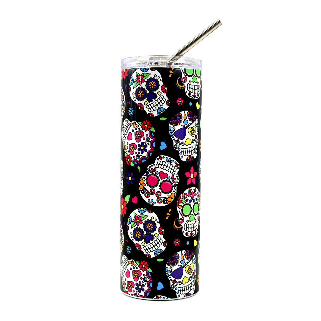 20oz. colorful skulls stainless steel tumbler with metal straw.