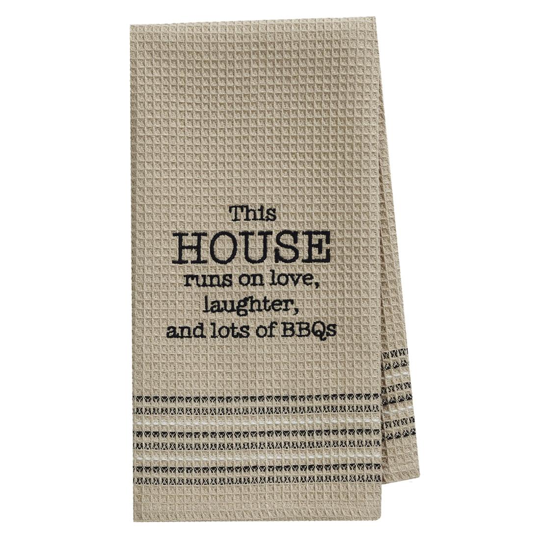 This House Runs on Love Waffle Weave Cotton Dishtowel