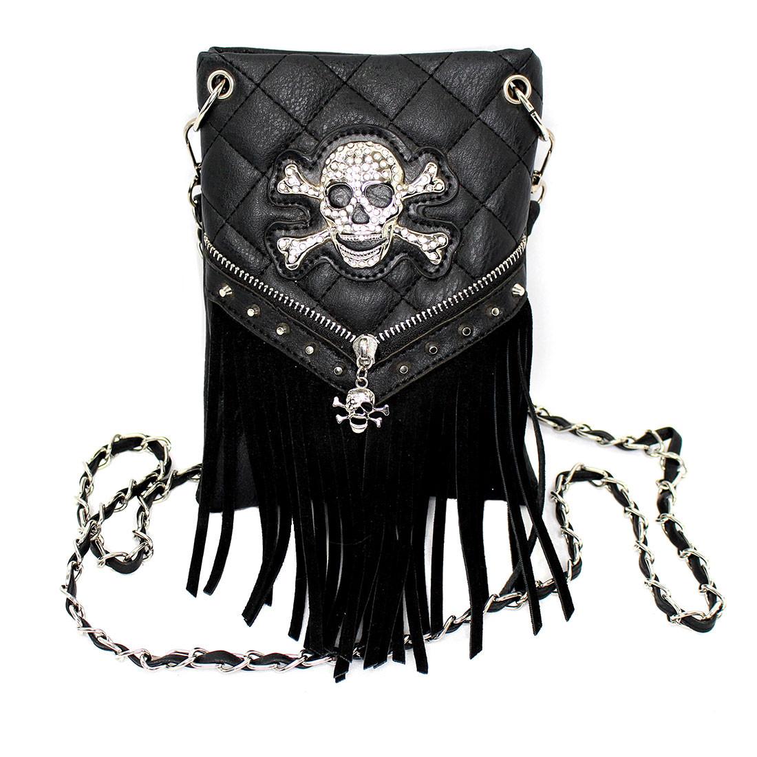 Skull and crossbone black fringe crossbody purse.