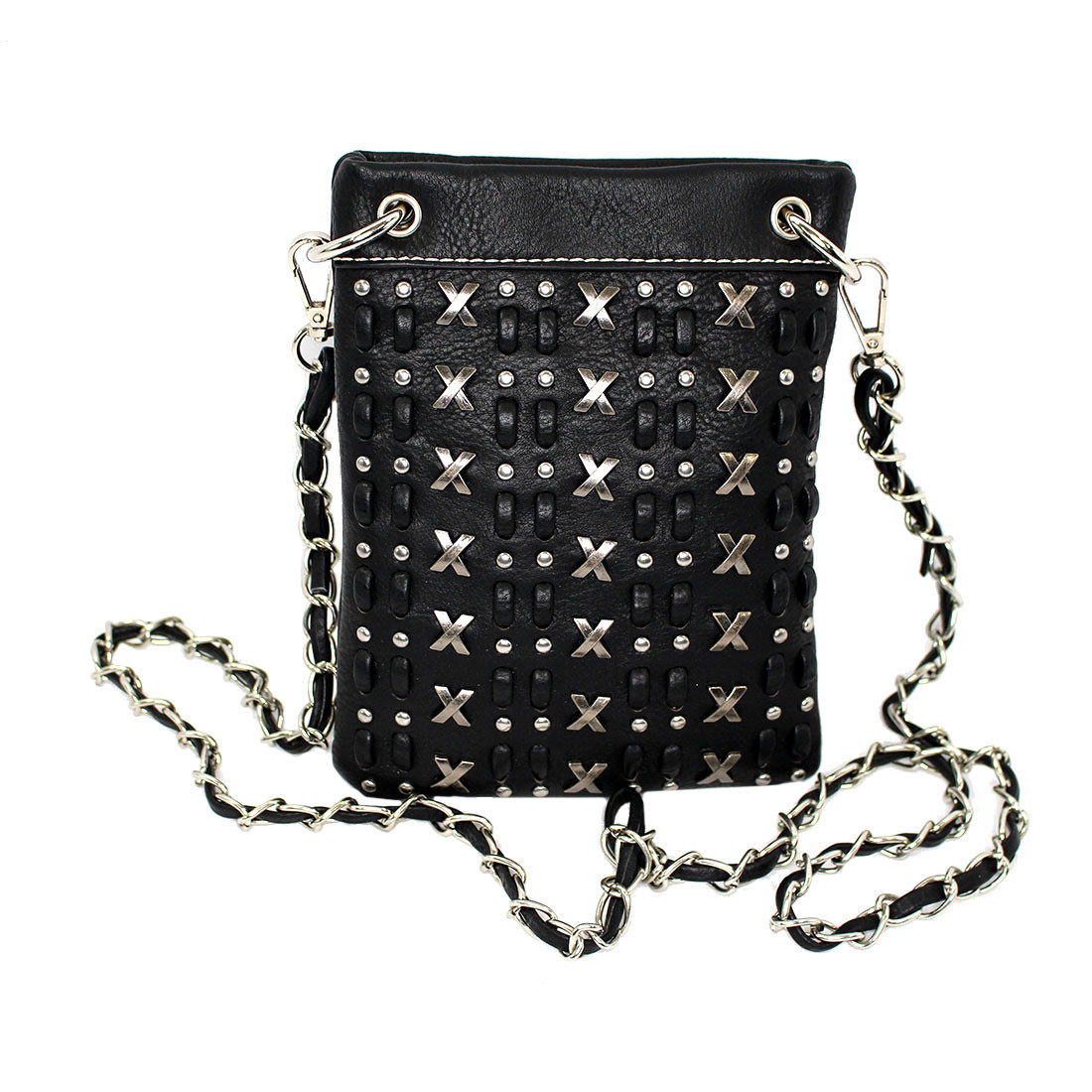 Black crossbody purse with X emblems and rhinestone detail.